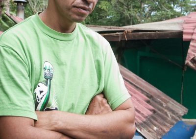 Esteban Cascante of Escazú is devastated while walking through the debris where several of his friends lost their lives.